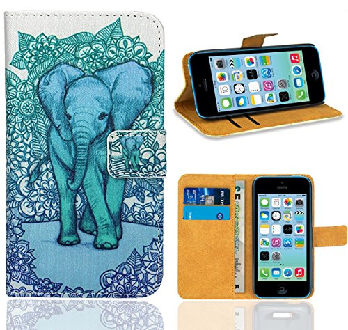 iPhone 5C Housse Coque, FoneExpert Etui Housse Coque en Cuir Portefeuille Wallet Case Cover pour iPhone 5C Color 10