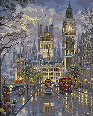 [ New Release ] Diy Oil Painting by Numbers, Paint by Number Kits - Street Evening Scene 16*20 inches - Digital Oil Painting Canvas Wall Art Artwork Landscape Paintings for Home Living Room Office White Christmas New Year Valentine Decor Decorations Gifts
