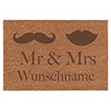 Fußmatte Mr. & Mrs. Inkl. Ihrem Namen - Schmutzfangmatte, natürlicher Kokos, Größe der Fußmatte:40 x 60 cm