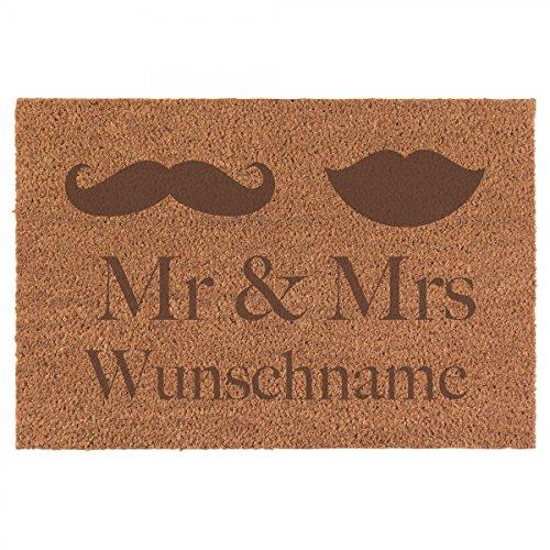 Fußmatte Mr. & Mrs. Inkl. Ihrem Nachnamen - Personalisierte Schmutzfangmatte, Fußmatte aus...