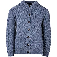 100% Irish Merino Wool Cardigan Sweater (Navy, X-Large)