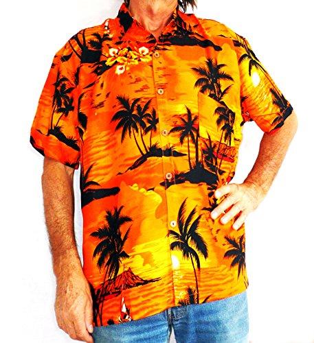Double Duck Laut Hawaiihemd ORANGE Mit Palmen Surf Boote L 52