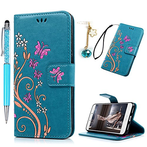 Funda Huawei P8 Lite 2017, Funda Libro de Cuero Impresión de Mariposa y Flor, Flip Cover con TPU Case Interna, Wallet Case con Soporte Plegable, Ranuras para Tarjetas y Billete (Funda Azul + Lápiz capacitivo + Enchufe anti del polvo)