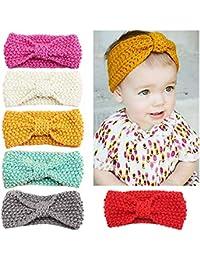 El bebé de las vendas del G-árbol de lana Tejidos de punto de turbante Hairbands para los cabritos/Chilren / bebé (6 Pack)