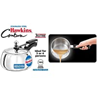 Hawkins Contura Stainless Steel Pressure Cooker, 3 litres + Induction Base Stainless Steel T Pan with Lid, 1.5 Liters, Silver Combo