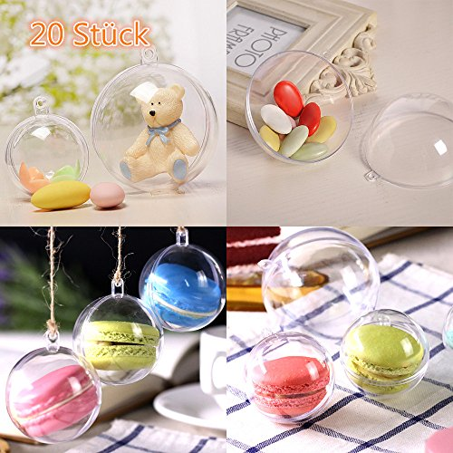 Christbaumkugeln Marmorieren.Zogin 20 Pack 5cm Christmas Ball Clear Transparent Balls Ornaments Diy Fillable Craft Plastic Xmas Ball Baubles