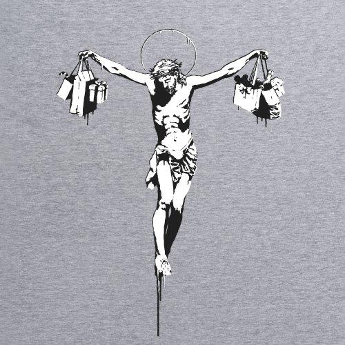 Banksy Jesus T-Shirt, Herren Grau Meliert