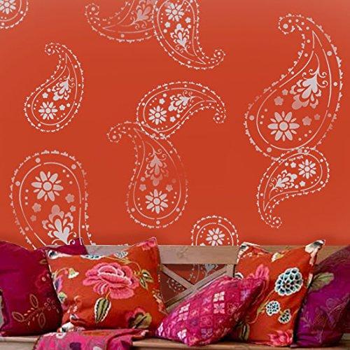 Schablone für Wandtattoo, indisches Almora-Paisley-Muster, zur Dekoration, Wandgestaltung usw., Kunststoff, XS/11X15.5