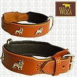 Woza Exclusive HUNDEHALSBAND 3,8/55CM FRANZÖSISCHE Bulldogge Vollleder Cognac Rindleder Nappa Handmade Collar