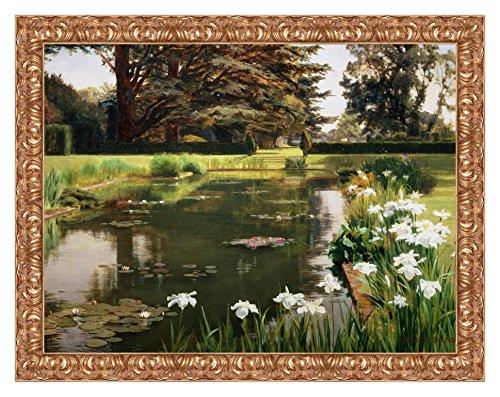LuxHomeDecor Rahmen Druck auf Leinwand mit Holzrahmen Ernest Spence The Garden, Sutton Place, England 113x88 CM Cornice Oro Classico