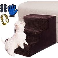 Masthome Hundetreppe mit Haustierhandschuh, 3 Stufen, rutschfeste Haustierbettleiter für Hunde und Katzen bis zu 22,7 kg