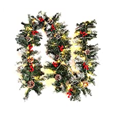 Warmiehomy Pre-lit Christmas Garland 2.7M Fireplace Stair Decoration Illuminated Wreath with 50 LED lights Pine Cones Decors for Xmas Festival Tree Display