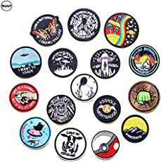 Pinkdose® 1 Pcs W 69: 1 Pcs Round UFO Embroidered Patches for Clothing DIY Stripes Applique Clothes Iron On Stickers Alien Badges Planet Parches @W