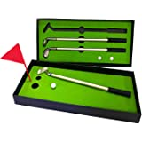 Mini Golf Club Putter Ballpoint Pen Golfers Gift Box Set Desktop Decor for School Supplies Golf accessories (A)