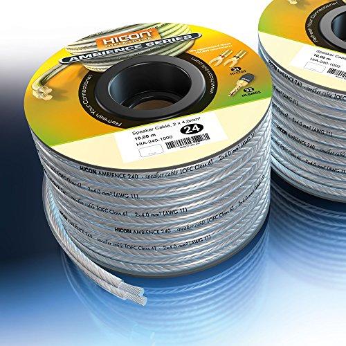 Preisvergleich Produktbild Lautsprecherkabel Ambience 2 x 4.0 mm² Transparent 30 m Hicon