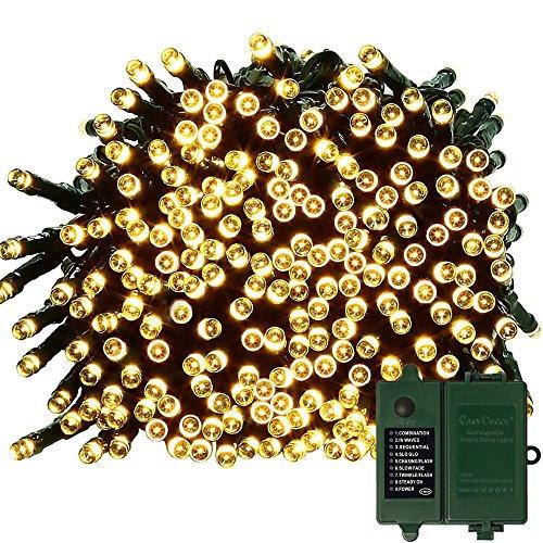 Batterie-Schnur-Lichter easyDecor 200 LED 72ft 8Mode wasserdichtes dekoratives feenhaftes Licht für Hochzeitsfest, Festival, im Freien, Innen, Patio (warmes Weiß)