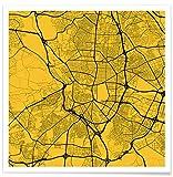 """JUNIQE® Poster 70x70cm Stadtpläne Kopenhagen - Design """"Madrid Yellow"""" (Format: Quadrat) - Bilder, Kunstdrucke & Prints von unabhängigen Künstlern entworfen von Urban Maps"""