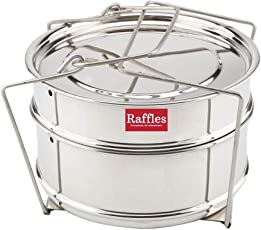 Raffles Premium SS Cooker Separator Suitable for Prestige Popular and Popular Plus Outer Lid Pressure Cookers (Containers with Lifter, Stainless Steel)