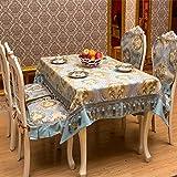 DSAAA Sencillez moderna mantel tejido antideslizante tapa de encaje de tela azul,110*110cm