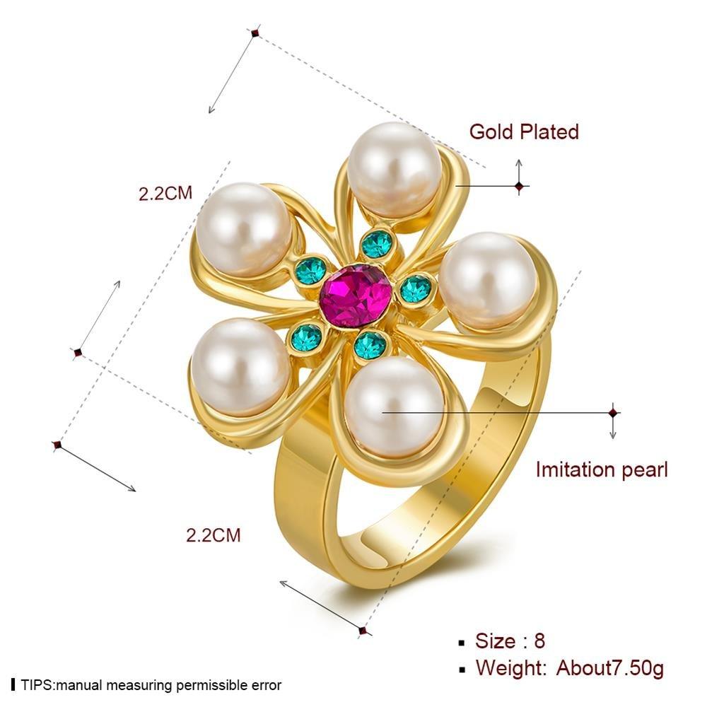Anello Fiore Verde , oro e multicolore , 8