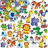 Baker Ross Jungle Animal Foam Stickers (Pack Of 96) For Kids Arts and Crafts