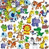 Moosgummi-Aufkleber Dschungeltiere für Kinder Karten und Bastelprojekten (96 Stück)