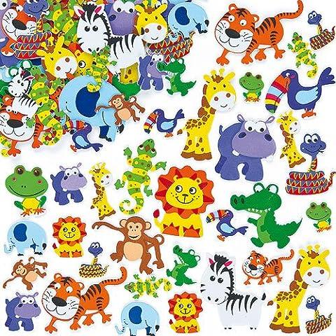 Lot de 96 Autocollants Animaux de la Jungle en Mousse
