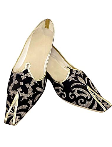 Mens Black and Golden Designs Groom Shoes MJ195