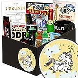 Einhorn | DDR Geschenkkorb | mit Kondomen, Bier, Pfeffi Likör uvm | INKL Aufkleber - Einhorn