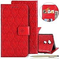 Herbests Handytasche für Sony Xperia XA2 Ultra Handyhülle Prägung Blumen Muster Retro Klappbar Flip Tasche Leder Tasche Brieftasche Leder Hülle Handytasche Cover Kartenfächer,Rot