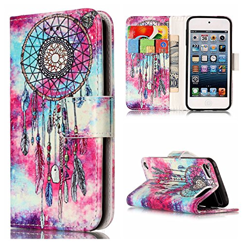 Price comparison product image Apple iPod Touch 5 /6 Case, Apple iPod Touch 5 /6 Wallet Case, Meet de Luxury Premium Creative Cool Butterfly chimes Pattern PU leather Stand Wallet Case with Card Holder Slots / Magnetic Closure Bookstyle Flip Case Cover for Apple iPod Touch 5 /6