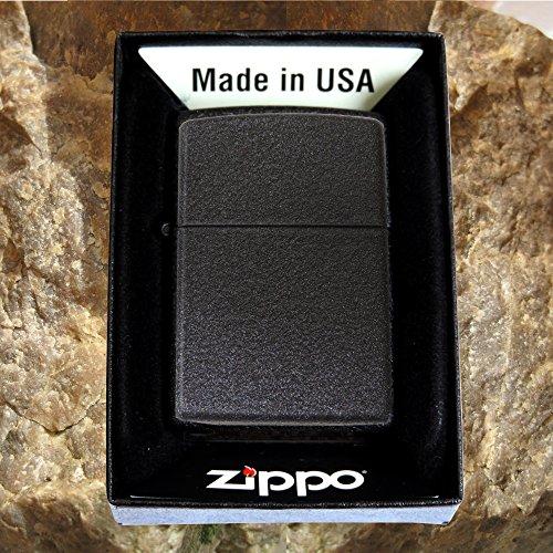 Zippo Crackle ; Originales Robustes schwarzes Zippo-Benzinfeuerzeug mit Kostenlose Gravur