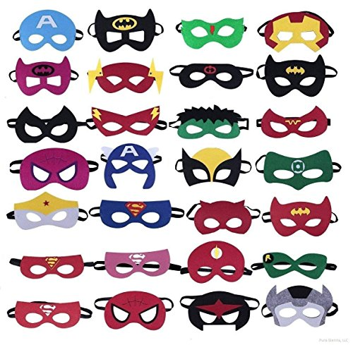 Frmarche Superhelden Masken 28PCS Superhero Filz Masken mit Elastischen Seil Cosplay Party Masken Halbmasken Halbe Augenmasken für Kinder Halloween Party Geburtstag Weihnachten für Alter 3-Plus