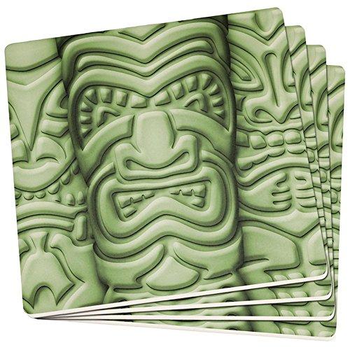 Old Glory Tiki Gott Grünes Gesicht Luau Satz von 4 Quadratischen Sandstein-Achterbahnen Multi Standard Ein Größe