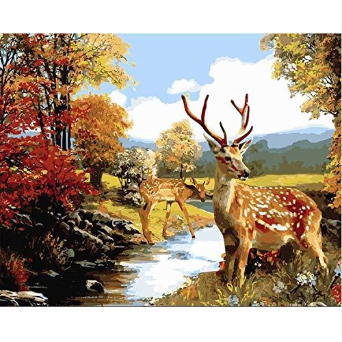 CBUSYS Sikawild Tiere DIY Malen Nach Zahlen Wandkunst Bild Färbung Malen Nach Zahlen Geschenk Für Wohnzimmer Kunstwerk