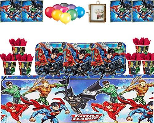 Justice League Party Gerechtigkeits-Liga-Partei DC liefert Kindergeburtstag Partytableware Teller-Cups Servietten-Tischdecke mit freiem Ballon-Satz und hängendem Foto-Rahmen-dient 16 Gästen