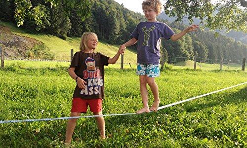Gibbon Slacklines Set Fun Line 15 m lang, 5 cm breit + Baumschutz - 7