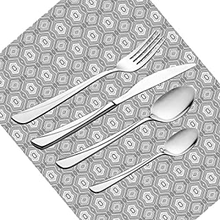 30 Piece Cutlery Set, Grey and White Tableware Stainless Steel Silverware Dinnerware Set for Serves 6 People Including Knife, Forks, Spoons, Tea Spoons & Placemat, Abstract Pattern with Lots of Angula