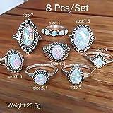 GAOWF 8Pcs/Set Ringe Set Sterling Silber Natur Edelstein Feueropal Diamant Ring Hochzeit Engagement Schmuck Retro Einfache Ringe Set