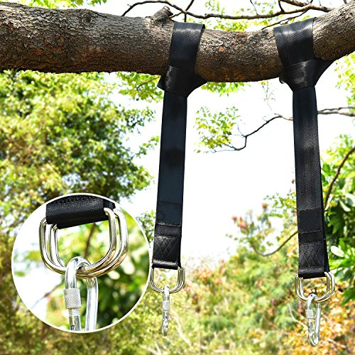 Hompie Baum Swing Aufhängen Träger, 200 cm Hängematten Seil mit Tragetasche und Sicherheit Lock Karabiner Haken, einfache & schnelle Installation, hält bis zu 2200lb für Reifen, Hängematten, Battle Rope Training-2 Pack (Freien Im 3 Stuhl Stück)
