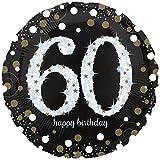 paduTec Heliumballon Zahlenballon Ballon Folienballon - Glamour 60 Jahre Alter - Happy Birthday Geburtstag Jubiläum Deko - mit Helium gefüllt