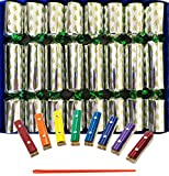 Crackers Ltd Musical Craquelins with Mini Xylophones - Christmas Tree Design on Silver (Cat F1)