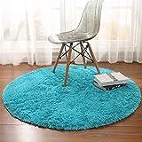 linyingdian 100cm (3,2-Feet) Runde Teppiche super weich Wohnzimmer Schlafzimmer Home Shag Teppich (Blau)