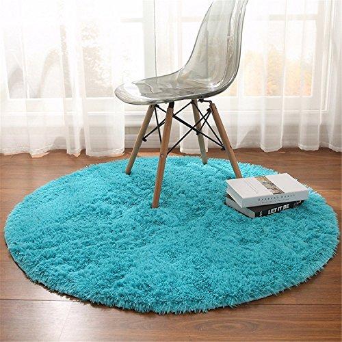 linyingdian 100cm (3,2-Feet) Runde Teppiche super weich Wohnzimmer Schlafzimmer Home Shag Teppich (Blau) - Blaue Shag Teppich