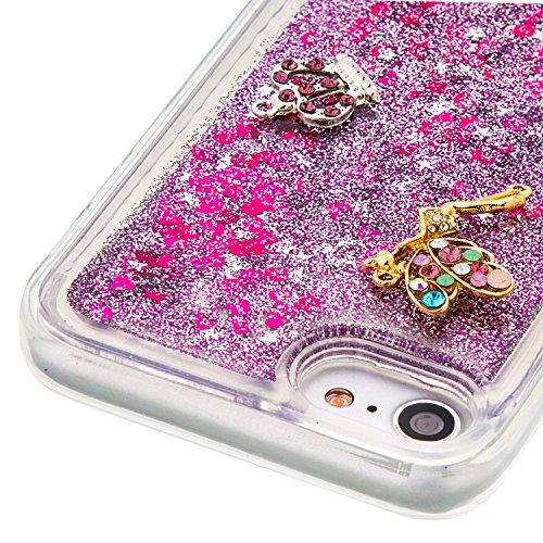 Case iPhone 7 3D Bling Diamant Design Coque, Sunroyal Glitter Bling Bling Dual Layer en Soft TPU Silicone Housse Transparent Clair Back Cover Strass Cristal Protecteur Étui Paillettes Flottant Liquide A-03