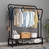 Lukzer Multipurpose Double Garment Rack Heavy Duty Cloth Rail with 2 Bottom Shelf Coat Jacket Hanger Shoe Stand (Black / 128