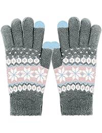 ECOMBOS Touchscreen Handschuhe Damen - Frauen Winter Warm Handschuhe Touch Screen Fäustlinge mit Fleecefutter, Weihnachten Geschenke für Damen Mädchen