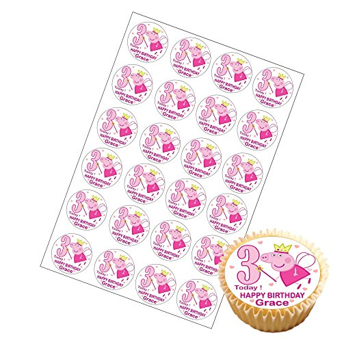 Image of 24 x Personalised Peppa Pig Cup Cake Toppers with Any Name and Age on Decor Real Edible Icing (Age 3)