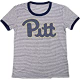 Blue 84 NCAA Pittsburgh Panthers Women's Tri-Blend Retro Stripe Ringer Shirt, Large, Navy