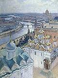 Artland Qualitätsbilder I Poster Kunstdruck Bilder 30 x 40 cm Städte Russland Moskau Malerei Blau B1OY Blick vom Glockenturm Iwans des Grossen auf Moskau